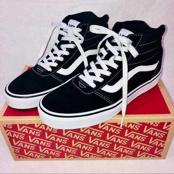 Vans Ward Hi Suede Canvas Sneakers Black White